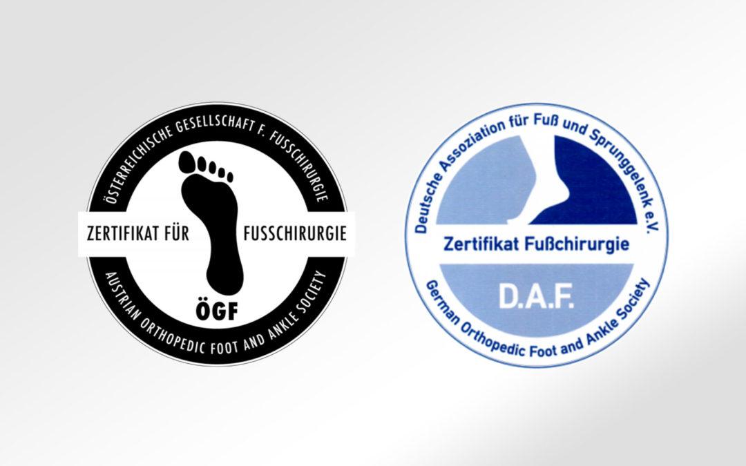 Zertifikat Fußchirurgie DAF & ÖGF